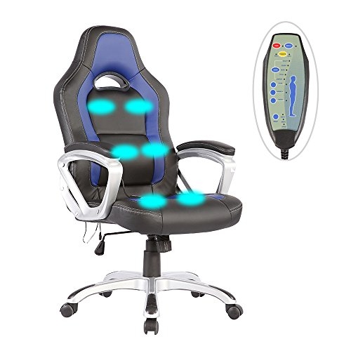 Mecor PU Leather Heated Office Chair-6 Vibration Massage Ergonomic Vibrating/Executive Computer Chair-Adjustable Height & 360 Degree Swivel (Black&Blue)