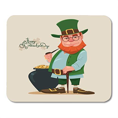 Semtomn Mouse Pad Leprechaun Irish Man Stick and Pipe Pot of Gold Mousepad 9.8
