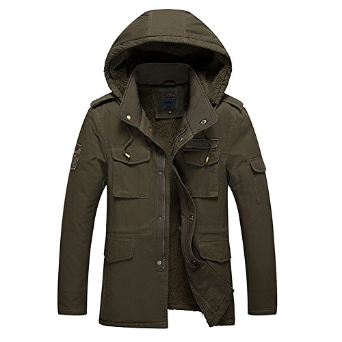 H.T.Niao Jacket8937C1 Men 's Casual Plus Pile Cotton Jackets(Army Green,Size XXXXL)
