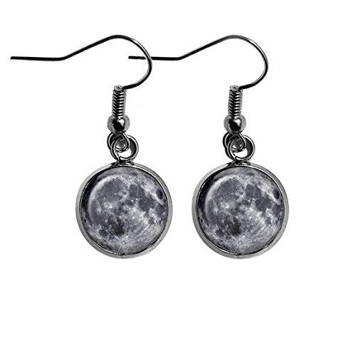 NASA Photograph The Moon Surgical Steel Earrings