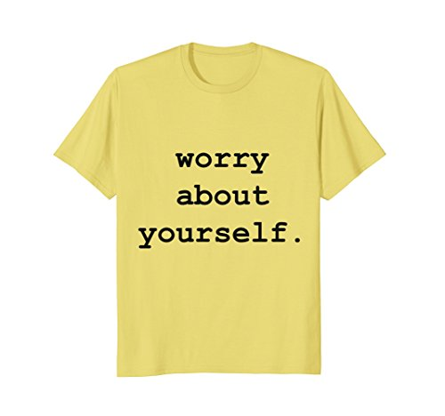 Mens worry about yourself t-shirt XL Lemon