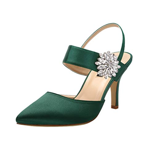 - ERIJUNOR E0064 Mid Heel Shoes for Women Pointed Toe Slingback Rhinestone Brooch Satin Dress Pumps Evening Prom Wedding Shoes Green Size 7