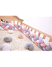 Bumper Knotted Braided Plush Crib, Baby Soft Braided Bumper, Head Guard Bumper Knot Braid Pillow Cotton Cushion, Wrap Around Protection for Cot Bedding