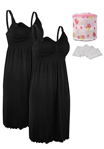 (iLoveSIA 2pack Women's Seamless Maternity Breastfeeding Nursing Dress with Build-in Bra Black/Black Size S)