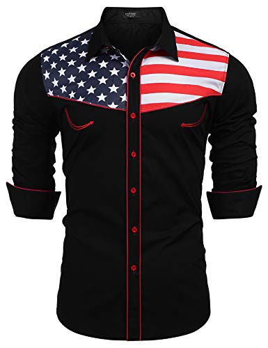 COOFANDY Men's Fashion Button Down Shirts Casual American Flag Long Sleeve Shirt, Black, XX Large