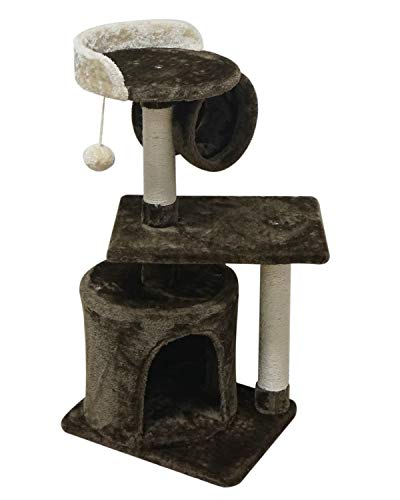 FISH&NAP US01KF Cat Tree Cat Tower Cat Condo Sisal Scratching Posts with Jump Platform and Cat Ring Cat Furniture Activity Center Kitten Play House Coffee