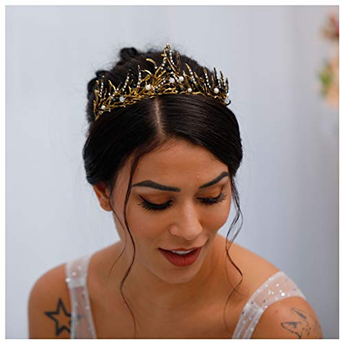 Yfe Women Crowns and Tiaras Evil Queen Crown Performance Cosplay Laurel Tiara Headband Wedding Hair Accessories for Women (Gold)]()