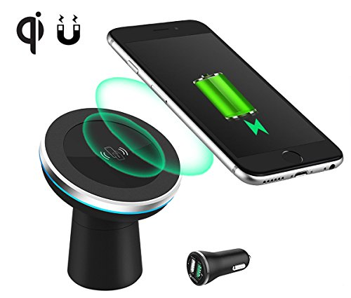 Qi Wireless Car Charger,BOMIT Magnetic Car Mount Phone Holder Air Vent/Dashbord/Desktop for Samsung Galaxy S8, S7/S6, Note 8 and iPhone X 10 8 Plus,Qi Enabled Devices (silver) (Round Dual Foam Adhesive)