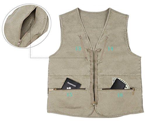Eidlvais Men's Multi-Pockets Vest For Outdoors Travels Sports Khaki Size XL by Eidlvais (Image #6)