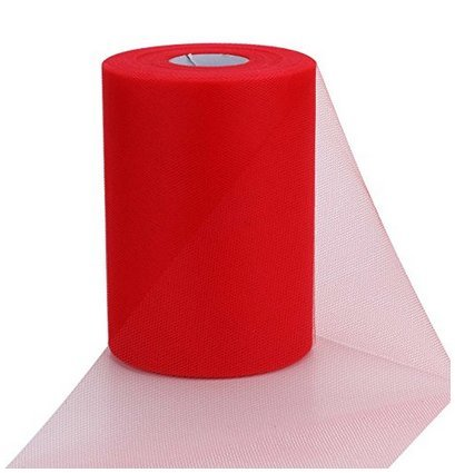 ASIBT 6 Inch x 100 Yards Tulle Roll Spool Fabric Table Runner Chair Sash Bow Tutu Skirt Sewing Crafting Fabric Wedding Party Gift Ribbon (Red) (Tulle Red Bolt)