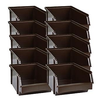 Apilables Cajas apilables colour marrón de plástico. Cajas de fabricación alemana: Amazon.es: Amazon.es