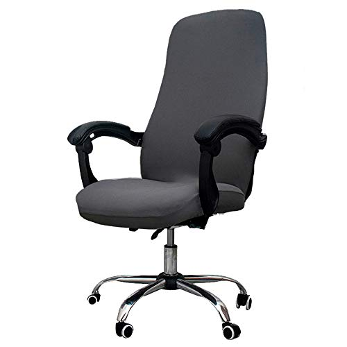Melaluxe Office Chair Cover - Universal Stretch Desk Chair Cover, Computer Chair Slipcovers (Size: L) - Dark Gray