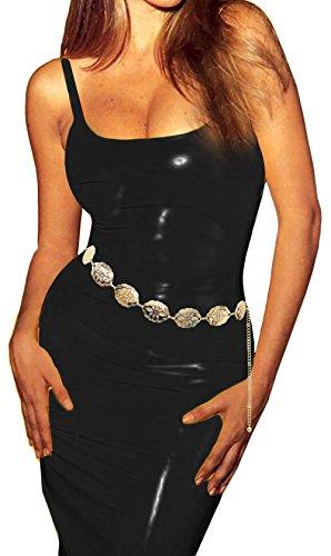 Luna Sosano Womens Rhodium Plated Fashion Chain Belt Collection - Type 24 - Gold