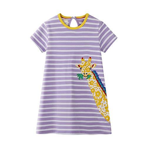 WRHJZW Baby Girls Giraffe Stripe Cotton Dress Short Sleeves Casual Summer Applique Skirt Dresses