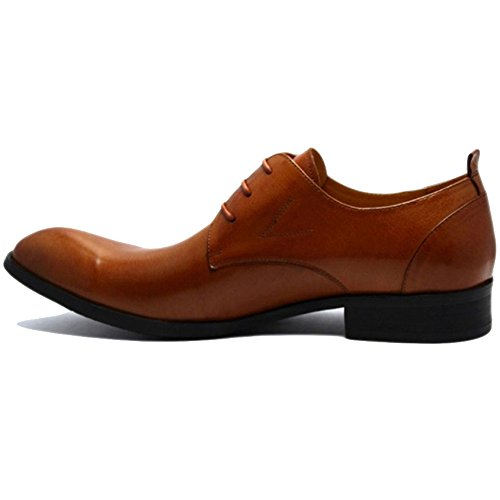 RENHONG Chaussures à Lacets Marron pour Homme Robe Oxford Business Formal Leather Groom Mariage Bout Pointu Derby Brown