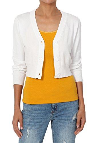 4 Button Cardigan (TheMogan Women's 3/4 Sleeve Button V-Neck Knit Sweater Crop Cardigan Ivory L)