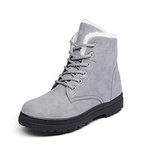 Lace Cotton Shoes Ankle Flat Platform Boots Sneaker Snow Women SHIBEVER Warm Up Gray Winter qaW07qt4X