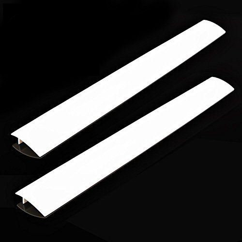 2 Pack Standard 25 Inch Kitchen Stove Gap Filler Cover - Premium Silicone Spill Guard for Stovetop, Counter, Oven, Washer, Dryer, Washing Machine and More, White, by ITEMporia (Set Sc03)