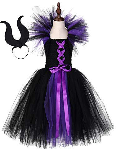 Purple Devil Costumes (Tutu Dreams Black Purple Witch Costume fro Girls Dress Long Medieval Vampire Costume Halloween Carnival Party (Black,)