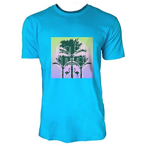 SINUS ART® Flamingos vor Sonnenuntergang Herren T-Shirts in Karibik blau Cooles Fun Shirt mit tollen Aufdruck