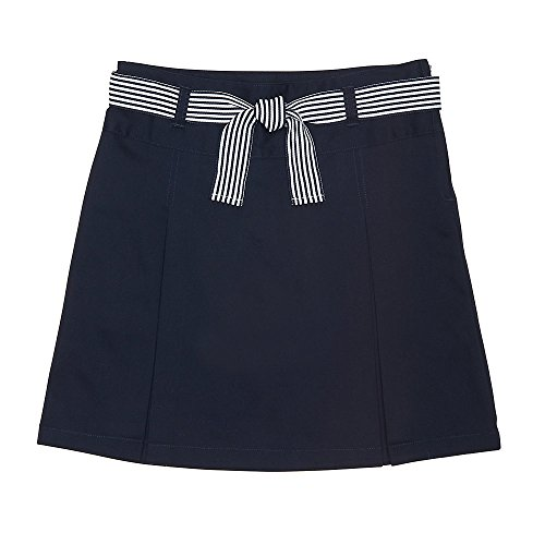 French Toast Big Girls' Belted 2-Pleat Scooter, Navy, 7 by French Toast