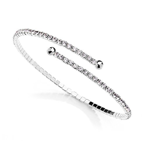 Mariell Austrian Crystal Rhinestone Silver Cuff Bracelet 1-Row Fashion Bangle - Wedding, Prom, (Pave Cuff)