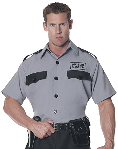 UHC Men's Prison Guard Shirt Adult Outfit Halloween Fancy Costume, OS (Male Prison Guard Costume)