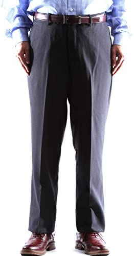 Men`s Super 120s 100% Virgin Wool Charcoal Flat Front Dress Pants