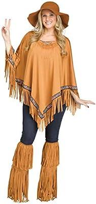 Marrón Poncho con indianischem banda, flecos & perlas como ...