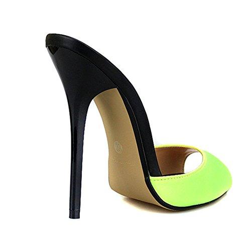 Damen Slingback Sandalen Hoch Hacke Schuhe Schlüpfen Hausschuhe Schwarz Rot Sommer Stilett Gucken Zehe Kleid Party Größe 40-49 yellow
