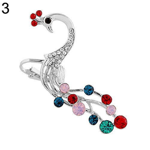 angel3292 Clearance Deals Fashion Peacock Colorful Rhinestones Left/Right Ear Clip Cuff Women Jewelry Gift ()