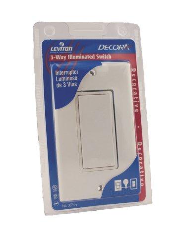 Leviton 5674-2W Illuminated Rocker Switch with Matching Wall Plate, 120/277 V, 15 A, White -