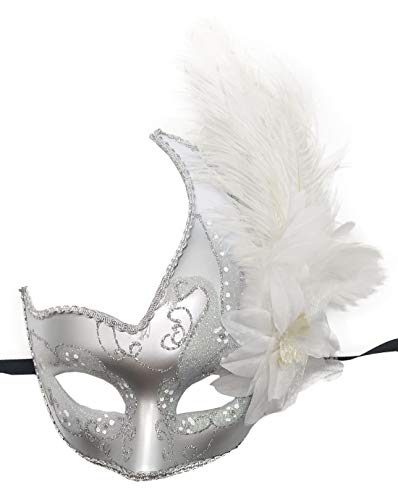 Biruil Feather Masquerade Mask Eyemask Halloween Mardi Gras Cosplay Party Face Mask (White/Silver) -