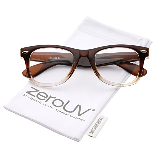 zeroUV - Classic Thick Square Clear Lens Horn Rimmed Eyeglasses 50mm (Brown-Fade / - Frames Brown Glasses