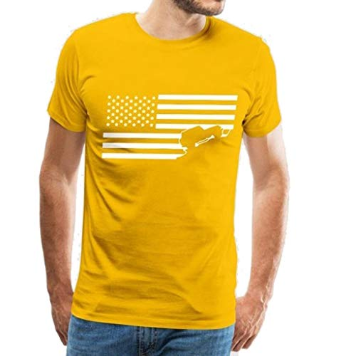 YOCheerful Men's Tops Summer Print Shirts Round Neck Slim Fit Short Sleeve Top Independence Day Blouse(Yellow, L)