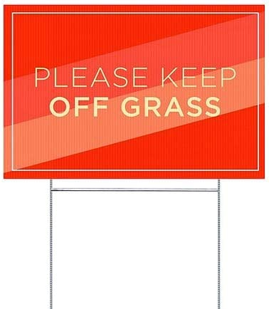 18x12 Modern Diagonal Double-Sided Weather-Resistant Yard Sign Please Keep Off Grass 5-Pack CGSignLab
