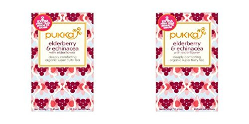(2 PACK) - Pukka Elderberry & Echinacea Tea| 20 Bags |2 PACK - SUPER SAVER - SAVE ()