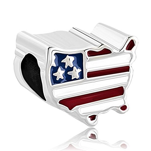 LovelyJewelry Travel Charms American Map USA Flag Beads For Bracelets