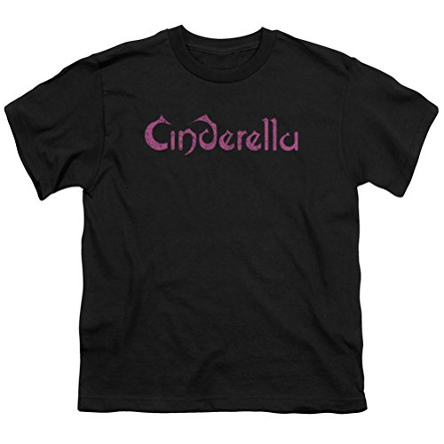 Kids Cinderella Logo Rough Youth T-shirt, Black, Medium