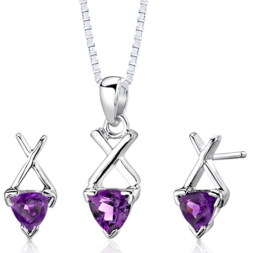 Amethyst Pendant Earrings Necklace Sterling Silver Rhodium Nickel Finish Trillion Cut 1.50 Carats