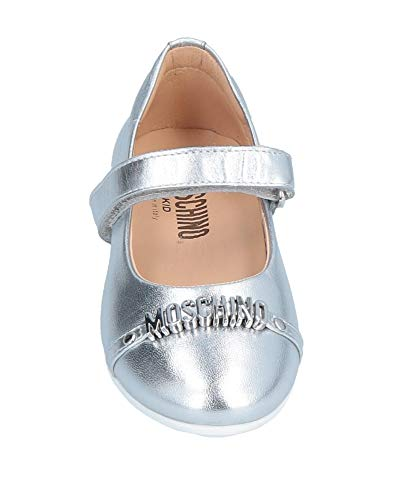 MOSCHINO Kid-Teen Girls Leather Shoes, Silver (Size 20)