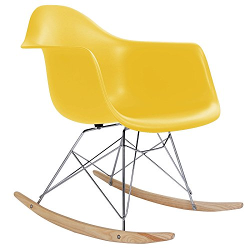 Classic Rocking Chair Rocker Shell Arm Chair Mid Century Molded Armchair Heavy Duty Plastic Yellow - Airport Denver Shape