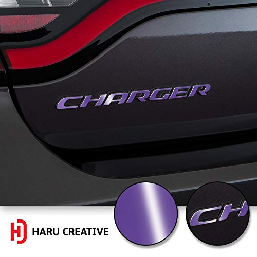 Haru Creative - Rear Bumper Trunk Emblem Overlay Vinyl Car Decal Sticker Compatible with and Fits Dodge Charger 2015 2016 2017 2018 2019 - Gloss Purple ()