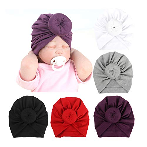 DRESHOW BQUBO 5 Pieces Baby Turban Hats Turban Bun Knot Baby Infant Beanie Baby Girl Soft Cute Toddler Cap (5 Pack Donut / 0-6 Month)