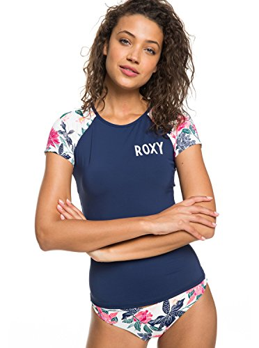 Roxy Womens Urban Waves - Short Sleeve UPF 50 Rash Vest - Women - M - White Bright White Tallows M (Guards Roxy Rash)