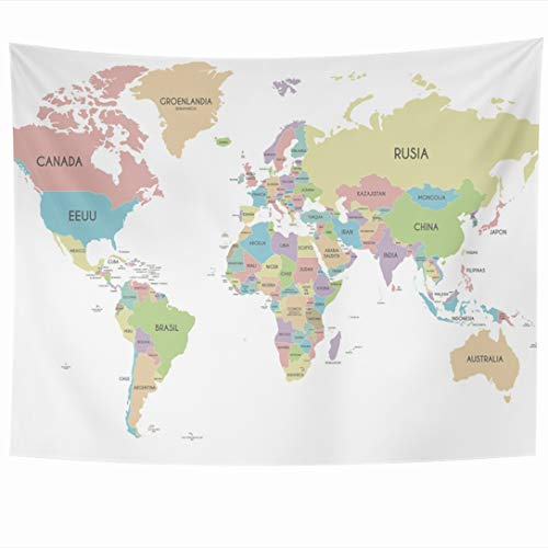 Ahawoso Tapestry 90x60 Inch Asia Worldmap Political World Map Spanish Clip Country Global Africa America Design Modern Tapestries Wall Hanging Home Decor for Living Room Bedroom Dorm