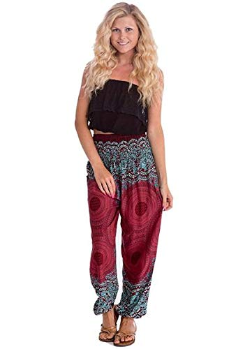 Happy Trunks Harem Pants - S M L XL 2XL - Womens Plus Hippie Bohemian Yoga Elephant Pants (Medium, Red Honeycomb)
