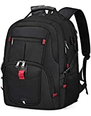 Laptop Backpack Men 17.3 inch Water Resistant Business Travel Computer Rucksack with USB Charging Port and Headphone Hole 17 inch TSA College School Office Work Notebook Backpack Bag Black