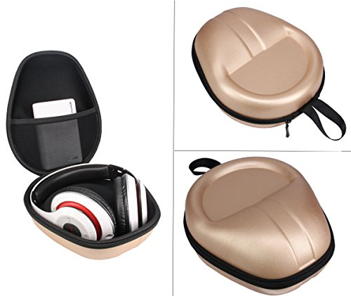 Carrying Headset Headphones Hard Bag Box Cover Case for Beats Solo3 Beats EP Bose 35 Beats Studio3 Wireless On-Ear Headphone -Extra Space for Phone,Power Band & Cables (Golden)