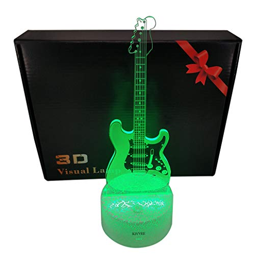 Visual 3D lamp Electric Guitar Musical Instruments Illusion Night light Festival Birthday Day Children Gift Nursery Bedroom Desk Table Decoration for Boys Kids Music Lovers by KIVVEE ()